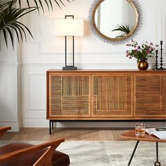 Keenan Large Sideboard + Reviews | Crate and Barrel Black Rectangle, Rectangle Table, Large Round Wall Mirror, Large Sideboard, Nesting Tables, Engineered Wood, Adjustable Shelving, Custom Furniture, End Tables