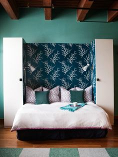Foldable hidden bed with wall paper headboard