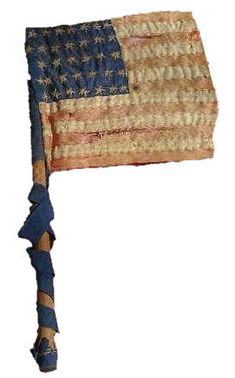 34 Stars, Hand Embroidered Parade Flag  Private sewn flags and parade flags flourished during the Civil War era.  Flags were hung on government buildings, at recruitment offices, on businesses and homes.  Homemade flags and small cottage-industry flag manufacturers produced large numbers of flags for Americans eager to demonstrate their patriotism.