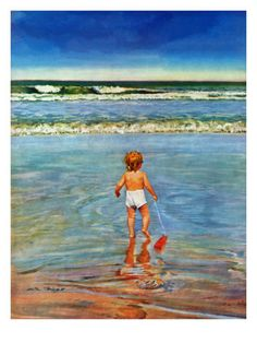 """Baby at the Beach,"" July 23, 1949 Giclee Print by Austin Briggs at AllPosters.com"