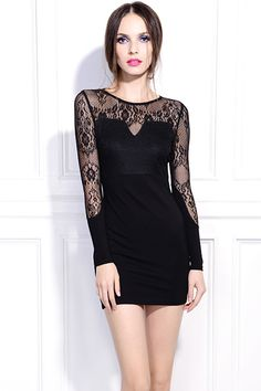 Hollow Lace Crochet Black Dress. Description Black dress, featuring a round neckline, dual-tone, hollow lace crochet design on upper and both sleeves, high waist, slim styling. Fabric Polyester. Washing Cool hand wash. #Romwe
