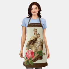 Catholic Blessed Virgin Mary Mount Carmel Rose Apron Lady Of Mount Carmel, Red And Pink Roses, Mama Mary, Catholic Gifts, Blessed Virgin Mary, Blessed Mother, Our Lady, Apron, Cool Designs