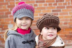 These crocheted newsboy's and girl's caps are a charming take on the classic hat. Shown in Patons Astra.
