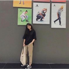 Korean Girl Fashion, Korean Street Fashion, Ulzzang Fashion, Asian Fashion, Look Fashion, Boyish Outfits, Retro Outfits, Cute Casual Outfits, Kpop Fashion Outfits
