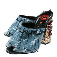 521b96921f7 Buy Gucci Blue Sequin Ruffle Trompe L Oeil Block Heel Mule Sandals Size 38  176728