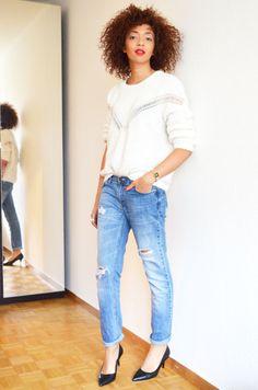 #mercredie #blog #mode #genève #fashion #blogger #geneva #switzerland #zalando #escarpins #stiletto #taupage #jean #boyfriend #zara #bershka #afro #hair #nappy #pull #camille #jumper #over #the #raibow