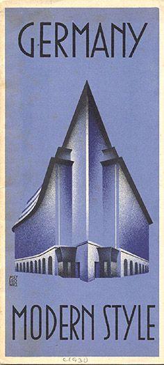 "Travel brochure ""Germany - Modern Style,"" 1931.  Published by the Reichsbahnzentrale für den Deutschen Reiseverkher, Berlin.  Signed ""Meyerowicz.""  Printed by Carl Sabo, Berlin. View of the Chilehaus in Hamburg."