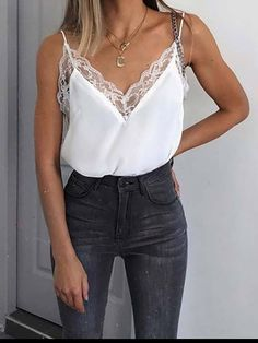 64c78ca4d18f3 Deep V-Neck Cutout Decorative Lace Ruffle Trim See-Through Plain Casua –  chicggo