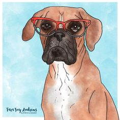 Abby the boxer is an illustration by Tara Joy Andrews. Abby is a country girl that loves star gazing on summer nights and spontaneous road trips.   #boxer #dog #illustration #watercolour #watercolor #digitalart