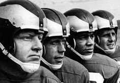 No face masks here: Eagles (from left) Sonny Jurgensen, Pete Retzlaff, Timmy Brown, and Tommy McDonald, in 1963. Some believe football was safer before the advent of face masks.