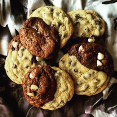 Black & White Twisted Chocolate Chip Cookies | This cookie has the best of both worlds – a chewy, brown sugar cookie studded with semisweet chocolate chips, AND a fudgy brownie cookie accented by creamy white chocolate. This makes the perfect treat for a half-birthday, or a particularly indecisive Monday – whatever fits your needs!