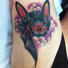 guendouglas: Last one from today! Herbie the pit bat! #tattoo #tattoos #bat