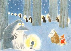 Moomin and Little My meet the Groke. How I still love The Groke - I am so sad for her. Art And Illustration, Tove Jansson, Moomin Valley, Beautiful Artwork, Fairy Tales, Character Design, Drawings, Prints, Painting
