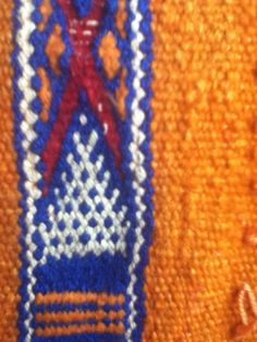 Traditinal Moroccan Kilim Cushion Cover Orange Blue Bright Ethnic Wool