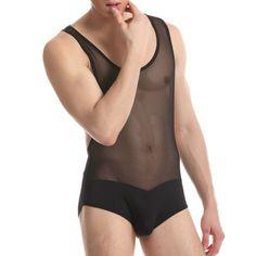 Sexy Perspective Voile Vest Splicing Underwear Solid Color Men's Jumpsuit #women, #men, #hats, #watches, #belts, #fashion