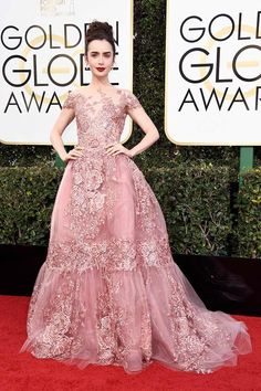 Lily Collins in Zuhair Murad - Golden Globes 2017