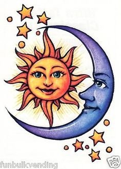 ✭ SUN MOON STARS ASTROLOGICAL ULTRA CLASSIC TEMPORARY TATTOO ✭ MADE IN USA