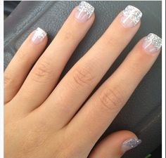 43 Trendy Nails Winter Glitter French Tips French Nails, Glitter French Tips, Short French Tip Nails, Glitter French Manicure, Nail Manicure, Cute Nails, Pretty Nails, Hair And Nails, My Nails