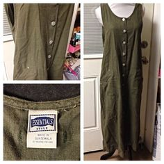 Size Medium DUNGAREE ESSENTIALS LINEN COTTON KAKHI Green Jumper Dress Women ebay auction. Www.txthrift.com