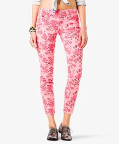 Rose Print Skinny Jeans   FOREVER 21 - 2021997031