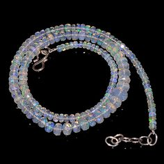 """53CRTS 3.5to6.5MM 18"""" ETHIOPIAN OPAL FACETED RONDELLE BEADS NECKLACE OBI2147 #OPALBEADSINDIA"""