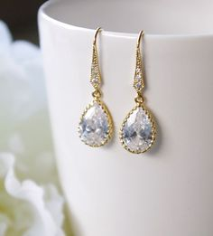 Gold Earrings For Wedding  Drop Earrings Bridal by SarahOfSweden