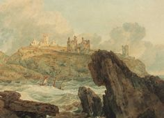 J.M.W. Turner, Dunstanburgh Castle (1798). Dunstanburgh, which lies off of the coast of Northern England, was painted by Turner many times. He would often rise before dawn to paint this scene. Turner, famous for his landscapes done in oil and watercolor, is one of the most renowned scenic painters in history.