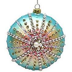 December Diamonds Round Rainbow Sea Shell Glass Christmas Ornament 7980315 New