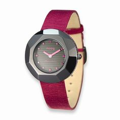Moog Fashionista Black and Purple Faceted Satin Strap Watch