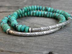 Edelsteen Bead armband elastische stapelen Sterling Zilver natuurlijke Nevada Turquoise Focal kraal