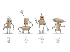 Corkers Robot design process (Reddish Studio, 2012): a new set of pins to create cork robots .
