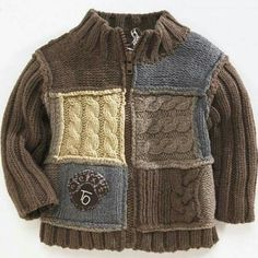 "Photo from album ""D-sp-Jackets with knitting needles (Jackets, cardigans, blouses with knitting needles)"" on Yandex. Baby Knitting Patterns, Baby Boy Knitting, Knitting For Kids, Cardigan Bebe, Baby Cardigan, Knit Baby Sweaters, Boys Sweaters, Pull Bebe, Crochet For Boys"