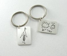 Your Child's Artwork on a Fine Silver Keychain