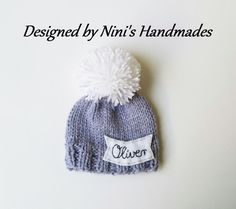 Chunky Personalized and CUSTOMIZED Grey Pom Pom Hat with Kursiv Name of your…