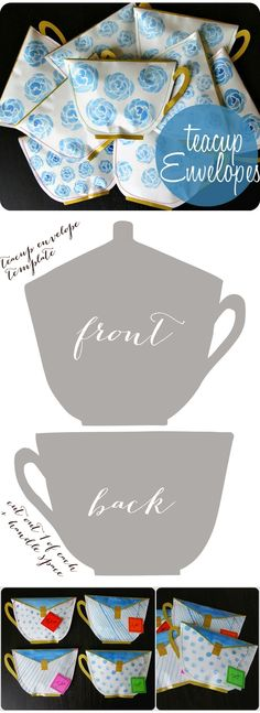 A teacup envelope design -- with free template -- from Oh My Handmade Goodness.
