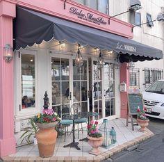 Cafe Shop Design, Cafe Interior Design, Store Design, Boutique Interior, Exterior Design, Interior And Exterior, Cafe Exterior, Pink Cafe, Cozy Coffee Shop