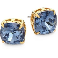 Tory Burch Tory-Set Crystal Stud Earrings ($68) ❤ liked on Polyvore featuring jewelry, earrings, apparel & accessories, denim blue, post back earrings, blue earrings, blue jewelry, blue stud earrings and tory burch jewelry