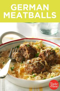 """German Meatballs Recipe _ """"THIS WAS one of our favorite main dishes. For variety these meatballs can be cooked with a sweet cream gravy or steamed with tomatoesbut we prefer them with homemade sauerkraut. Meatball Recipes, Meat Recipes, Dinner Recipes, Cooking Recipes, Beef Dishes, Food Dishes, Main Dishes, Easy German Recipes, Oktoberfest Food"""