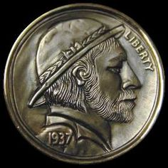 MIKE CIRELLI HOBO NICKEL - 1937 BUFFALO PROFILE Hobo Nickel, Coin Art, Buffalo, Coins, Carving, Profile, User Profile, Rooms, Wood Carvings