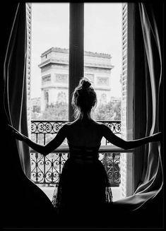 Girl in Paris Window Poster - Photo Noir et Blanc - Posterstore. Poster Shop, Foto Poster, Poster Prints, Wall Prints, Black And White Posters, Black White, Black And White Pictures, Ballerina Poster, Photo Pop Art