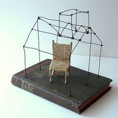 #Model A House with a Reading Chair    Original Wire Mixed Media Altered Book