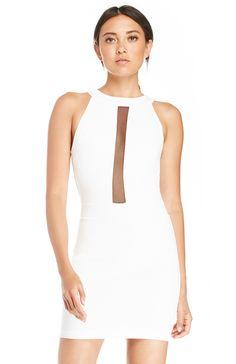 Mesh Strip Mini Dress
