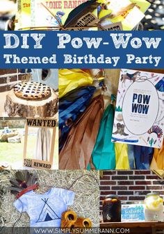 DIY Pow-Wow Themed Birthday Party for the boy who loves playing cowboys and Indians! Full decor includes drink station, creative party desserts display, unique and fun photo booth setup with props, plus fun take on cake smash with a pie smash instead!