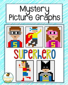 Superhero | Mystery Pictures | Graphing | Activities | Fun | Math Students will love discovering the superhero mystery pictures that are made by coloring in the correct squares on the grid using the colors and coordinates given. These are great, engaging activities to use for Graphing Activities, Fun Math, Squares, Grid, Stitches, Mystery, Coloring, Students, Superhero