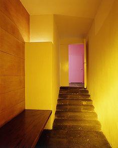 gold and pink walls.