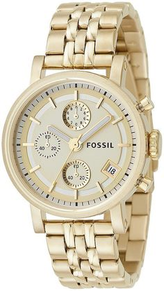 Fossil Goldtone Chronograph Watch - Overstock™ Shopping - Big Discounts on Fossil Fossil Men's Watches Gold Watches Women, Fossil Watches For Men, Women's Watches, Herren Chronograph, Gold Plated Bracelets, Jennifer Aniston, Watch Brands, Stainless Steel Bracelet, Earrings