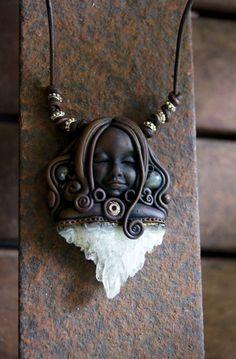 Goddess Amethyst Cluster and Labradorite Gemstone by TRaewyn, $95.00