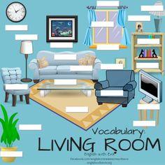 ESL, EFL, English Vocabulary-LIVING ROOM Activity