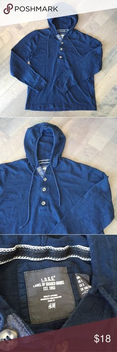 Blue Hooded H&M Henley! Blue hooded Henley from H&M! Stylish elbow patches and front buttons. Perfect for any season! Size large. H&M Shirts