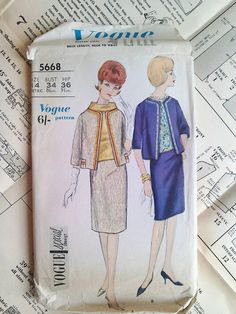 60s Vogue sewing patterns 5668 special design Bust 34 inches - To make jacket, skirt, blouse, vintage sewing pattern. Suit and blouse: Away from the